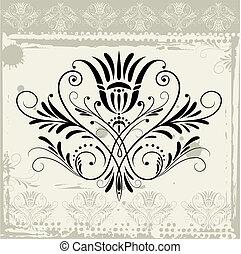 Floral Ornament On Grunge Background