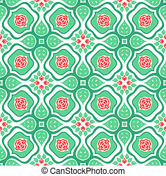Floral pattern with stylized red roses and leaves