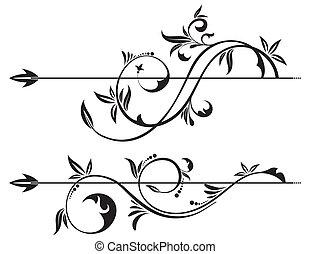 Floral Scroll element for design, vector illustration