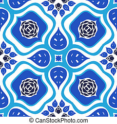 Floral seamless vector pattern with bold ornament
