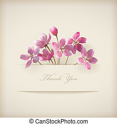 Floral 'Thank you' card with beautiful realistic spring pink flowers and banner with drop shadows on a beige elegant background in modern style. Perfect for wedding, greeting or invitation design