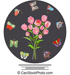 Floral tulip frame with butterflies.