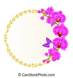 Floral vector round golden frame with orchids purple flowers tropical plants Phalaenopsis and cute small butterfly vintage festive background vector