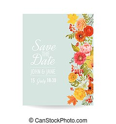 Floral Wedding Invitation Card with Autumn Flowers, Leaves and Rowanberry. Baby Shower Decoration in vector