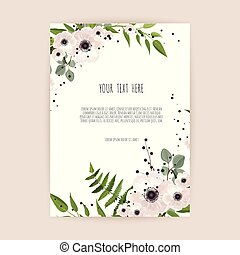 Floral wreath with green leaves and flowers. Frame border with copy space.