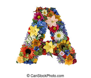 Letter A made of flowers isolated on white background