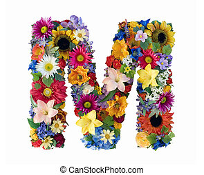 Letter M made of flowers isolated on white background