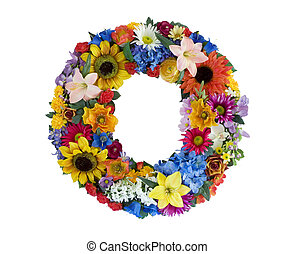 Letter O made of flowers isolated on white background