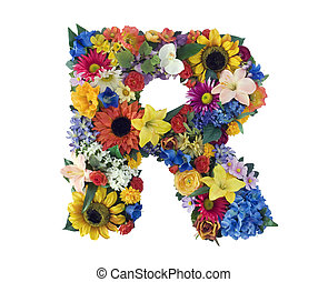 Letter R made of flowers isolated on white background