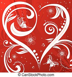 Flower background with heart