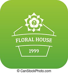Flower house icon green vector