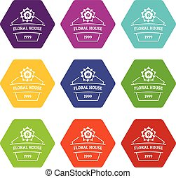 Flower house icons set 9 vector