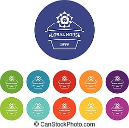 Flower house icons set vector color