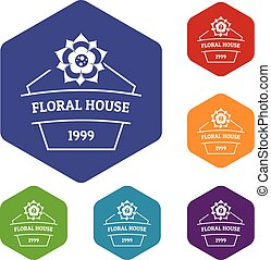 Flower house icons vector hexahedron