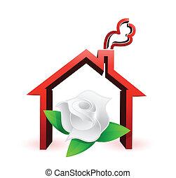 flower house illustration design graphic