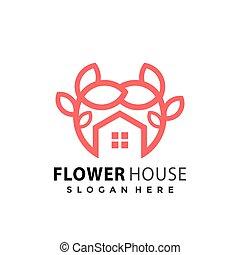 Flower House logo Design vector illustration