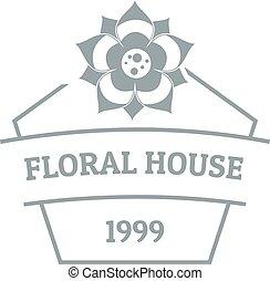 Flower house logo, simple gray style