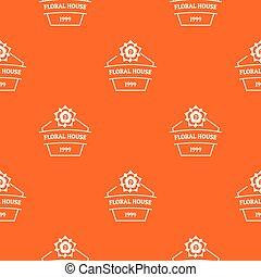 Flower house pattern vector orange