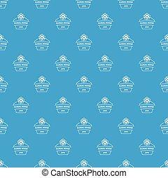 Flower house pattern vector seamless blue