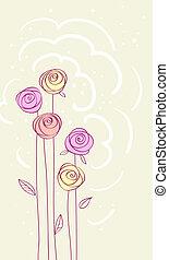 flower rose card vector background