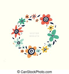 Flower text circle frame hand drawn template