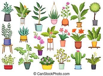 Flowerpot vector cartoon icon set . Collection vector illustration pot of plant on white background. Isolated cartoon icon set flowerpot for web design.