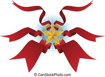 Flowing Ribbon Star Wreath Shield