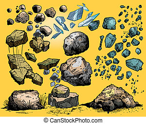flying rocks and stones