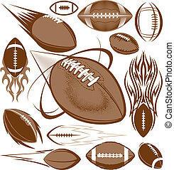 A clip art collection of football icons and elements