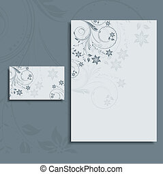 Foral letterhead and business card layout