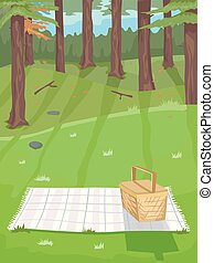 Forest Picnic Illustration