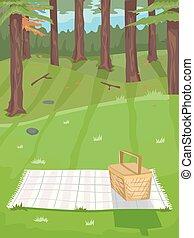 Forest Picnic Illustration