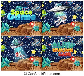 Four background design with aliens and many planets in space