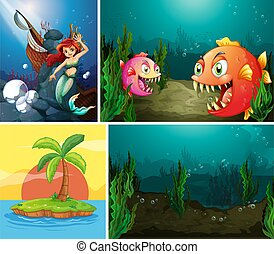 Four different scene of tropical beach and mermaid underwater with sea creater cartoon style