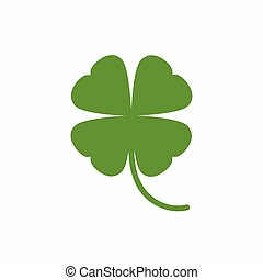 Four leaf clover icon. Green herb Isolated on white.