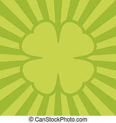 Four leaf clover with rays. Green frame for text, greeting card. Flat design. Irish sign. S