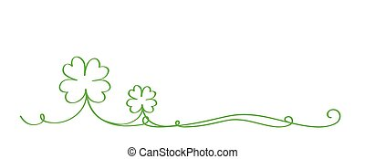 four leaf lucky clover calligraphic border isolated on white background