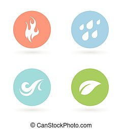 Four natural elements icons - Earth, Water, Fire and Air.