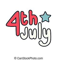 fourth of july lettering independence day line and fill