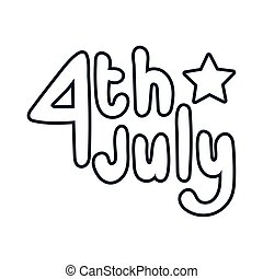 fourth of july lettering independence day line