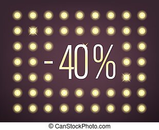 Fourty percent sale banner with illuminated wall