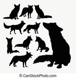 Fox wild animal silhouettes