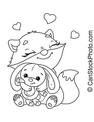 Fox with Toy Coloring Page