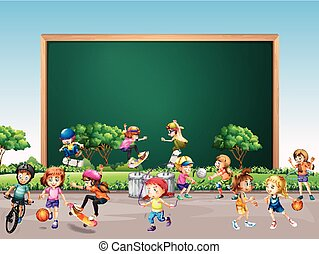Frame design with many children play in park background