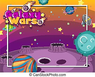 Frame design with many planets in the space background