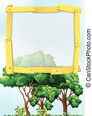 Frame design with trees in background