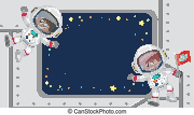 Frame template design with astronauts in background
