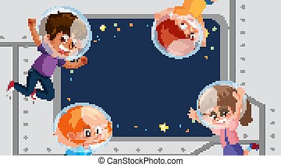 Frame template design with kids in space in background