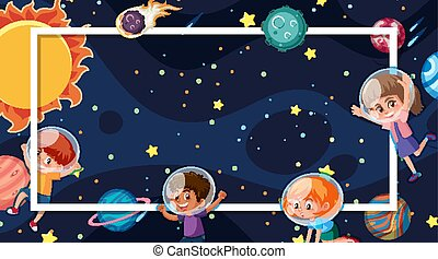 Frame template design with planets in space in background