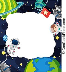 Frame template with astronaut flying in the space background